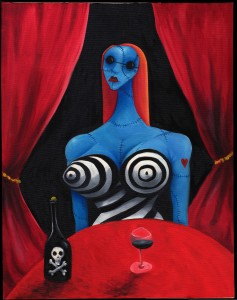 "Tim Burton; (American, b. 1958); Blue Girl with Wine. c. 1997; Oil on canvas, 28 x 22"" (71.1 x 55.9 cm); Private Collection; © 2009 Tim Burton"