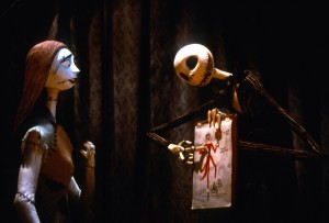 Tim Burton's The Nightmare Before Christmas (1993); Directed by Henry Selick; Shown: Sally, Jack Skellington; Credit:Touchstone/Photofest  ©Touchstone Pictures