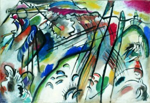 "Vasily Kandinsky, ""Improvisation 28"" (second version) (Improvisation 28 [zweite Fassung]), 1912 Oil on canvas, 43 7/8 x 63 7/8 inches (111.4 x 162.1 cm) Solomon R. Guggenheim Museum, New York Solomon R. Guggenheim Founding Collection, By gift. 37.239"