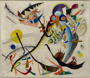 "Vasily Kandinsky, ""Blue Segment"" (Blaues Segment), 1921 Oil on canvas, 47 1/2 x 55 1/8 inches (120.6 x 140.1 cm) Solomon R. Guggenheim Museum, New York Solomon R. Guggenheim Founding Collection. 49.1181"
