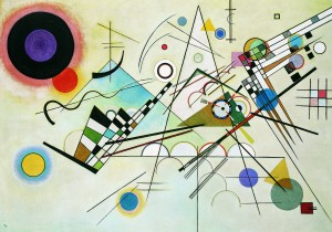"Vasily Kandinsky's ""Composition 8"" (Komposition 8), July 1923 Oil on canvas, 55 1/8 x 79 1/8 inches (140 x 201 cm) Solomon R. Guggenheim Museum, New York Solomon R. Guggenheim Founding Collection, By gift. 37.262"